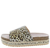 Idelisa02 Beige Black Leopard Open Toe Slide Sandal - Wholesale Fashion Shoes