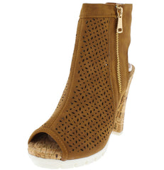IDLETIME02 TAN PEEP TOE WHITE SOLE CORK HEEL - Wholesale Fashion Shoes