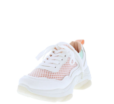 Ignite Pink Mesh Toe Tone Lace Up Sneaker Flat - Wholesale Fashion Shoes
