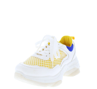 Ignite Yellow Mesh Toe Tone Lace Up Sneaker Flat - Wholesale Fashion Shoes