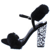 Ily Black Faux Fur Open Toe Slingback Printed Block Heel - Wholesale Fashion Shoes