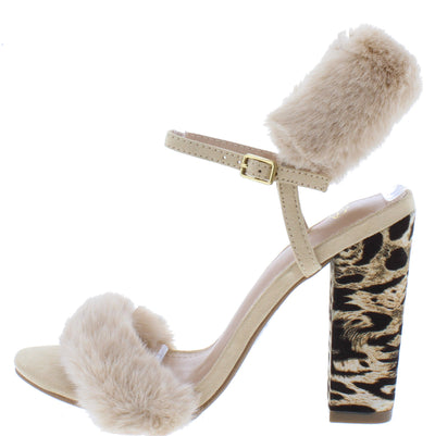 Ily Nude Faux Fur Open Toe Slingback Printed Block Heel - Wholesale Fashion Shoes