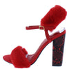 Ily Red Faux Fur Open Toe Slingback Printed Block Heel - Wholesale Fashion Shoes