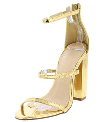 ADALYNN  MIRROR GOLD METALLIC STRAPPY CHUNKY HEEL - Wholesale Fashion Shoes