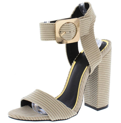 Riley203 Nude Ribbed Open Toe Cut Out Ankle Strap Heel - Wholesale Fashion Shoes