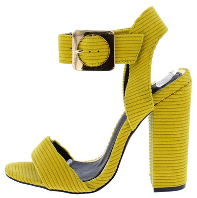Riley203 Yellow Ribbed Open Toe Cut Out Ankle Strap Heel - Wholesale Fashion Shoes