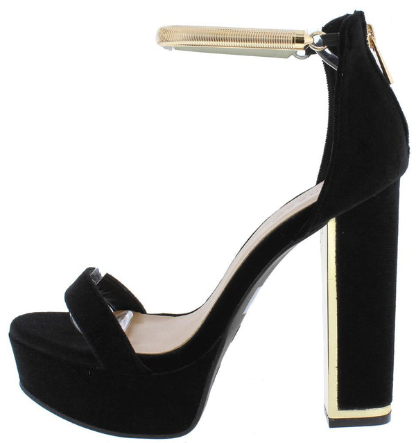 606fafac83f Inclined06m Black Velvet Metallic Ankle Strap Platform Heel