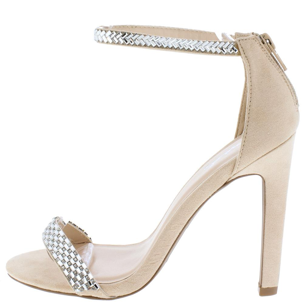 cbfff796c5 Ines18a Nude Suede Pu Rhinestone Open Toe Ankle Strap Heel - Wholesale  Fashion Shoes