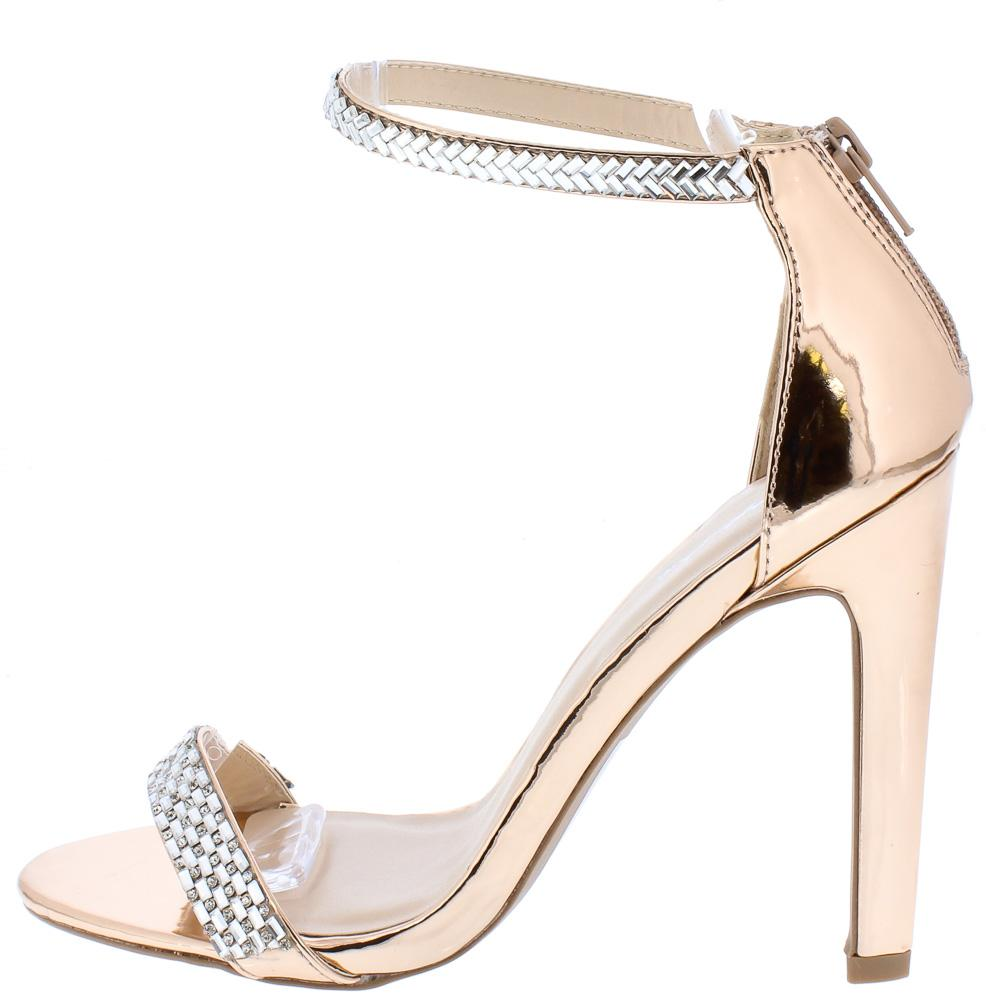 2d6db9129e27 Ines18a Rose Gold Rhinestone Open Toe Ankle Strap Heel - Wholesale Fashion  Shoes