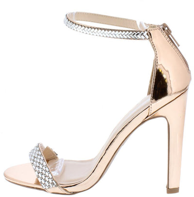 Ines18a Rose Gold Rhinestone Open Toe Ankle Strap Heel - Wholesale Fashion Shoes