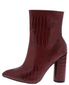 Alonddra215 Wine Croc Pointed Toe Ankle Boot - Wholesale Fashion Shoes