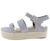 Infinity19 Navy Open Toe Ankle Strap Espadrille Sandal - Wholesale Fashion Shoes