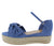 Infinity32 Blue Knotted Open Toe Ankle Strap Wedge