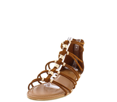 Inspire26m Chestnut Gold Accent Multi Strap Sandal - Wholesale Fashion Shoes