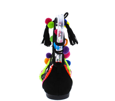 Inspire51v Black Neon Pom Pom Fringe Embroidered Sandal - Wholesale Fashion Shoes