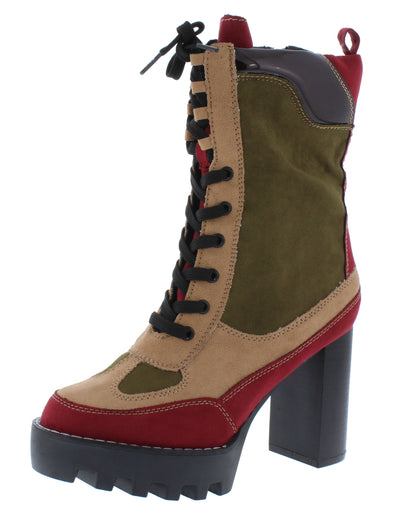 Intensity03 Burgundy Lace Up Lug Sole Combat Boot - Wholesale Fashion Shoes