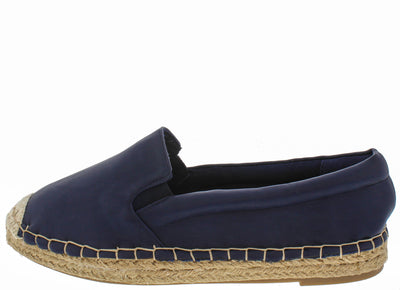 Intention Navy Pu Leather Espadrille Flat - Wholesale Fashion Shoes