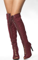 INTEREST110 BURGUNDY OPEN TOE LACE UP SEE THROUGH LACE STILETTO HEEL KNEE HIGH BOOT - Wholesale Fashion Shoes - 2