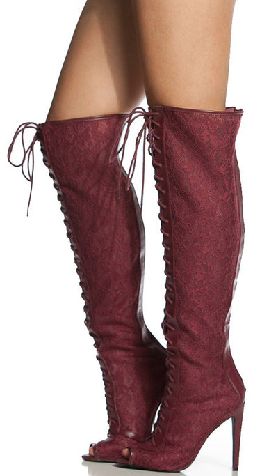 Interest110 Burgundy Open Toe Lace Up See Through Lace Stiletto Heel Knee High Boot - Wholesale Fashion Shoes