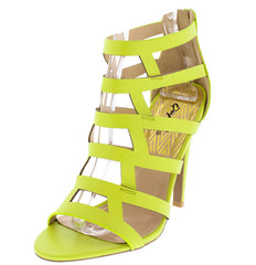 INTEREST127X LEMON LIME OPEN TOE MULTI GEOMETRIC CUT OUT HEEL - Wholesale Fashion Shoes