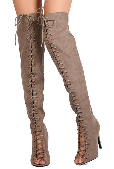 Interest87 Taupe Suede Lace Up Peep Toe Stiletto Boot - Wholesale Fashion Shoes