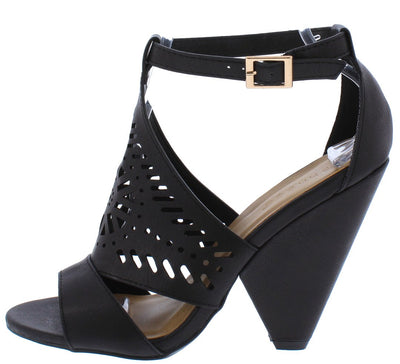 Involve06m Black Peep Toe Laser Cut Ankle Strap Angled Heel - Wholesale Fashion Shoes