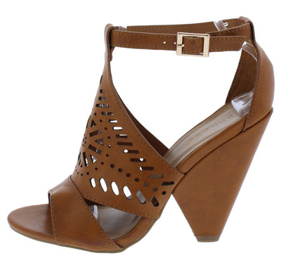Involve06m Chestnut Distressed Peep Toe Laser Cut Ankle Strap Angled Heel - Wholesale Fashion Shoes