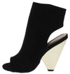 Involve07xm Black Peep Toe Cut Out Angled Boot - Wholesale Fashion Shoes