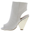 Involve07xm Ivory Peep Toe Cut Out Angled Boot - Wholesale Fashion Shoes