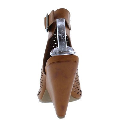 Involve09m Chestnut Distressed Laser Cut Peep Toe Cut Out Angled Heel - Wholesale Fashion Shoes