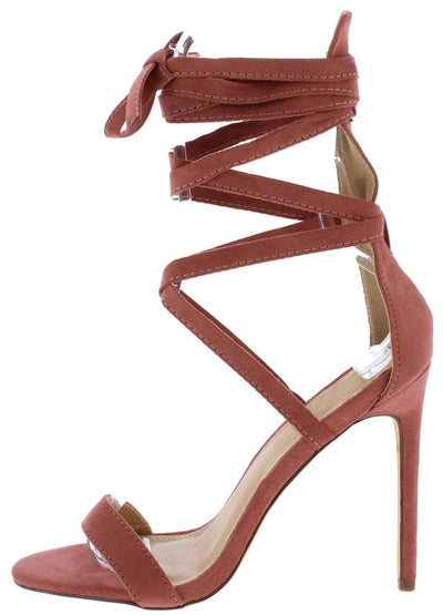 Maya188 Dusty Pink Open Toe Strappy Ankle Wrap Stiletto Heel - Wholesale Fashion Shoes