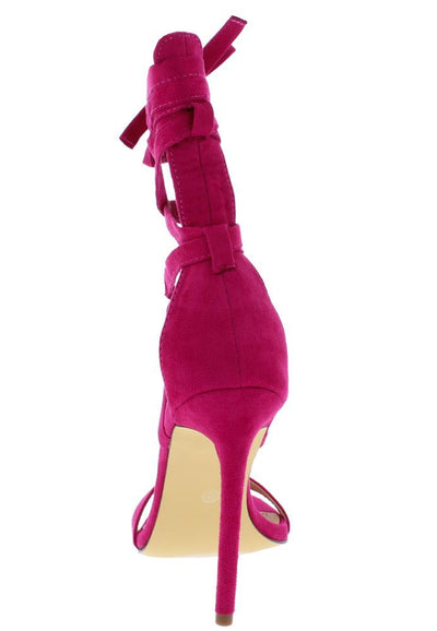 Maya188 Magenta Open Toe Strappy Ankle Wrap Stiletto Heel - Wholesale Fashion Shoes