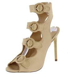 ADALYN090 CHAMPAGNE PEEP TOE MULTI BUCKLE CUT OUT HEEL - Wholesale Fashion Shoes