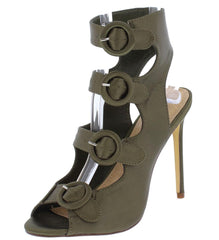 ADALYN090 OLIVE PEEP TOE MULTI BUCKLE CUT OUT HEEL - Wholesale Fashion Shoes