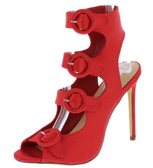 ADALYN090 RED PEEP TOE MULTI BUCKLE CUT OUT HEEL - Wholesale Fashion Shoes