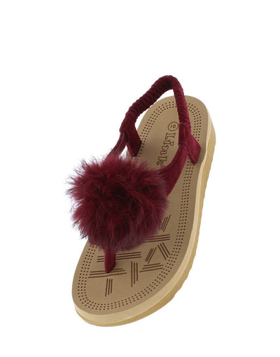 Irina47k Burgundy Kids Fuzzy Pom Pom Elastic Singback Sandal - Wholesale Fashion Shoes
