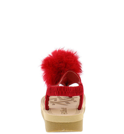 Irina47k Red Kids Fuzzy Pom Pom Elastic Singback Sandal - Wholesale Fashion Shoes