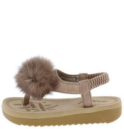 Irina47k Taupe Kids Fuzzy Pom Pom Elastic Singback Sandal - Wholesale Fashion Shoes