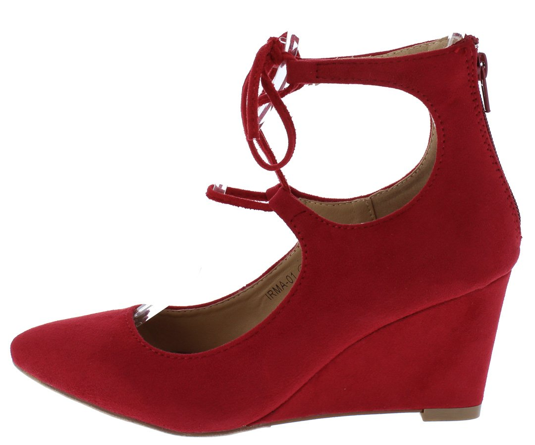 1bab4d2cdaca Irma01 Red Almond Toe Ghillie Lace Up Wedges Only  10.88 - Wholesale ...