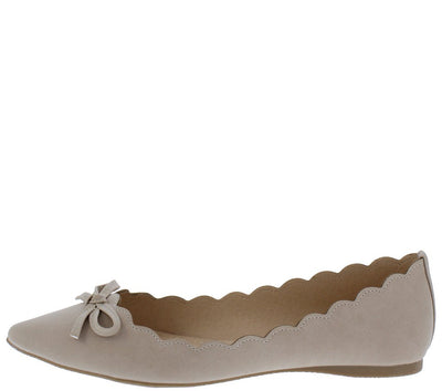 Isabella22 Nude Scalloped Pointed Toe Ballet Flat - Wholesale Fashion Shoes