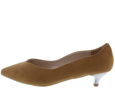 Isadora01 Beige Suede Scalloped Pointed Toe Kitten Heel - Wholesale Fashion Shoes