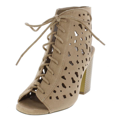 Issa02 Beige Suede Laser Cut Lace Up Stacked Heel - Wholesale Fashion Shoes
