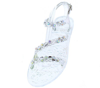 Grace14 Silver Open Toe Multi Strap Sling Back Rhinestone Sandal - Wholesale Fashion Shoes