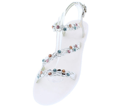Grace14 White Open Toe Multi Strap Sling Back Rhinestone Sandal - Wholesale Fashion Shoes