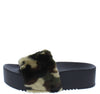 Carolyn119 Camouflage Open Toe Faux Fur Slide Sandal - Wholesale Fashion Shoes