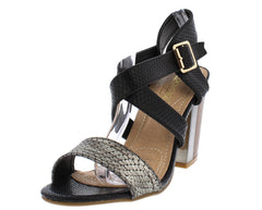 ITALY10L BLACK GUNMETAL METALLIC TEXTURED CHUNKY HEEL - Wholesale Fashion Shoes