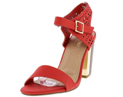 ITALY11L CORAL LASER CUT OPEN TOE EXPOSED WOOD STACKED GOLD HEEL - Wholesale Fashion Shoes