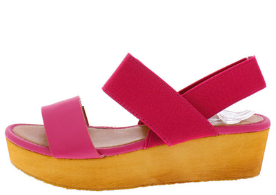 Italy5 Fuchsia Elastic Band Platform Wedge - Wholesale Fashion Shoes