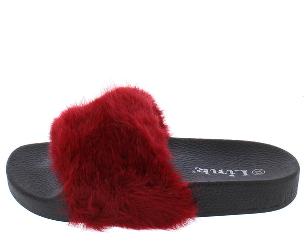 d5146c94fb49 Izzy18k Burgundy Faux Fur Slide on Kids Sandal