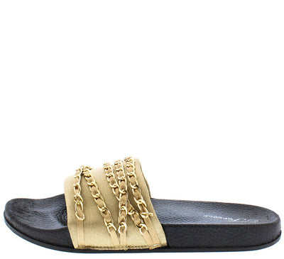 Izzy35 Gold Gold Chain Slide on Sandal - Wholesale Fashion Shoes